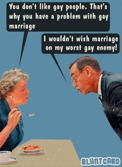funny gay marriage postard